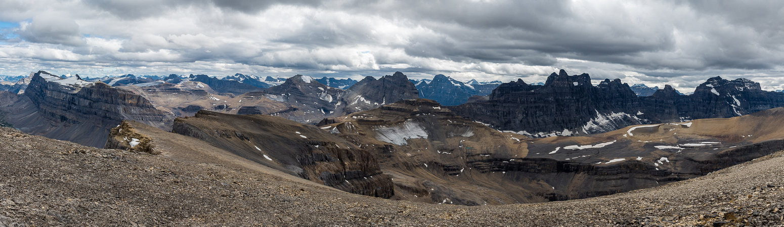 A pano from the false summit includes Marmota, Spreading Peak, Totem Tower and the summits of Murchison