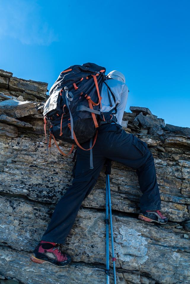 Scrambling along the summit ridge.