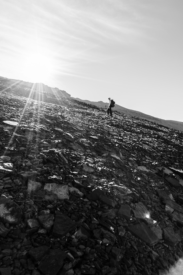 On the frozen scree of Marmota's west face. Thankfully this dried off in the sun so we didn't slip around on descent.