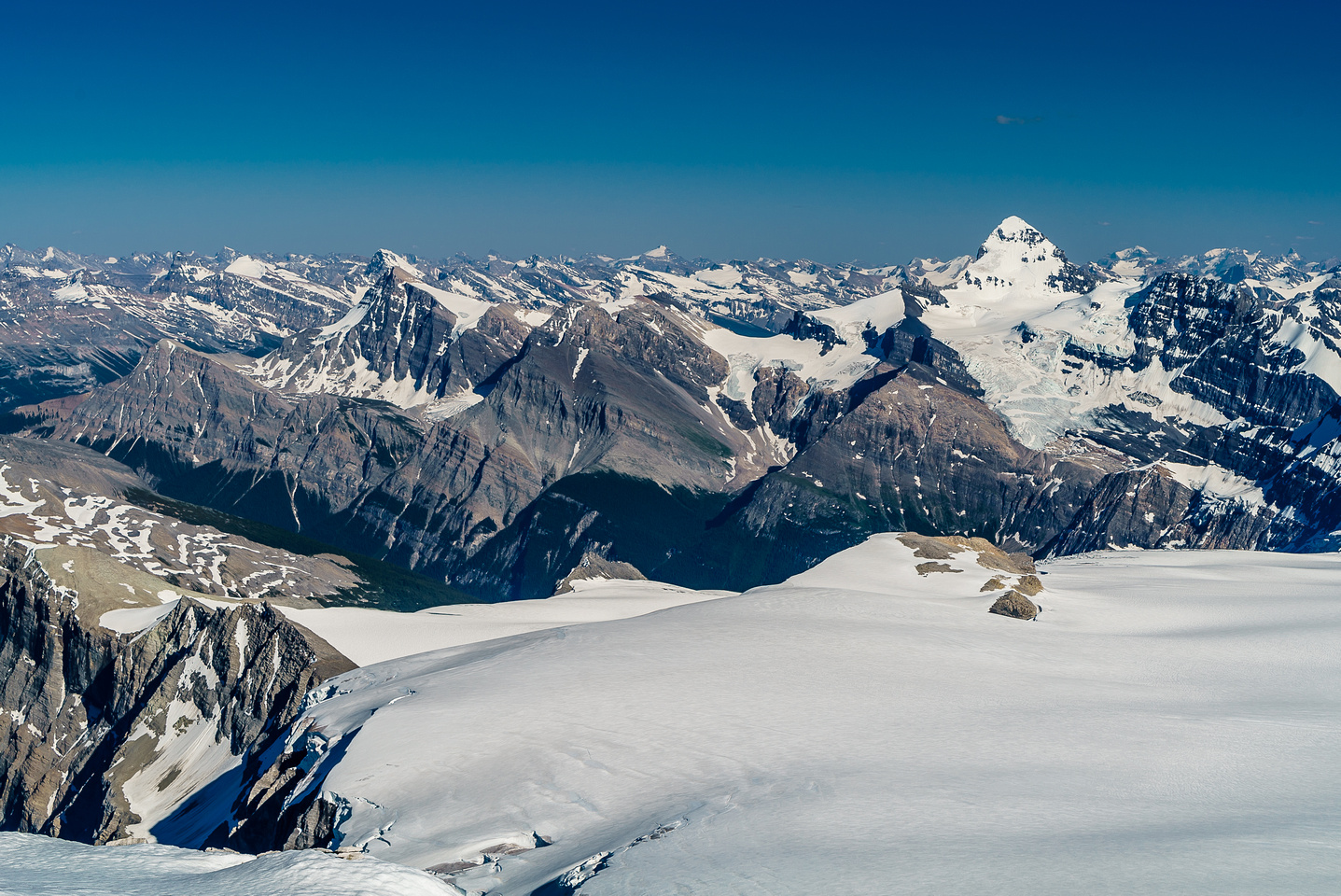 Mount Forbes with Outram at left and Hector visible at center distance.