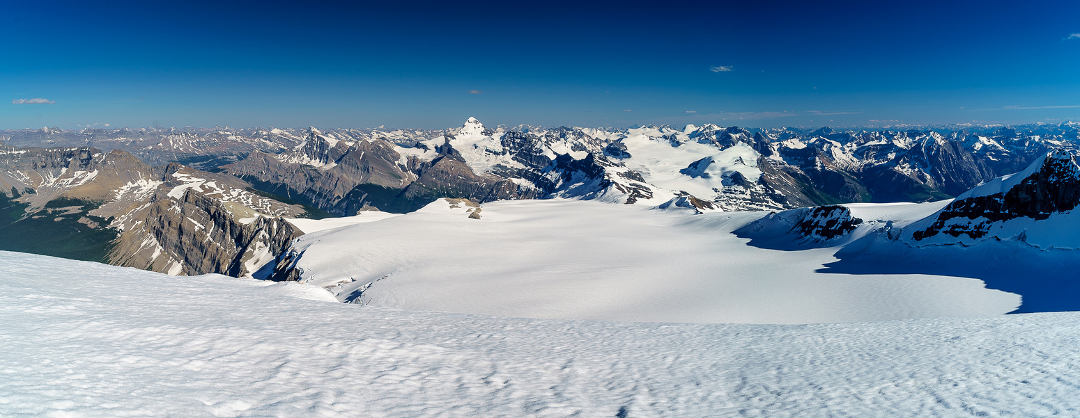 The entire main Lyell Icefield stretches out towards the Forbes and Mons Glaciers and summits. Arctomys at mid left