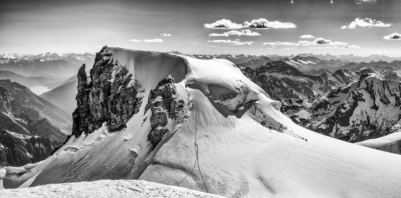 Ernest Peak looks incredible from Edward - note our tracks up the east ridge.