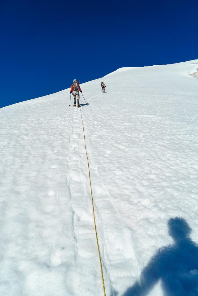 We start the easy trudge up Edward Peak on pretty mushy snow.