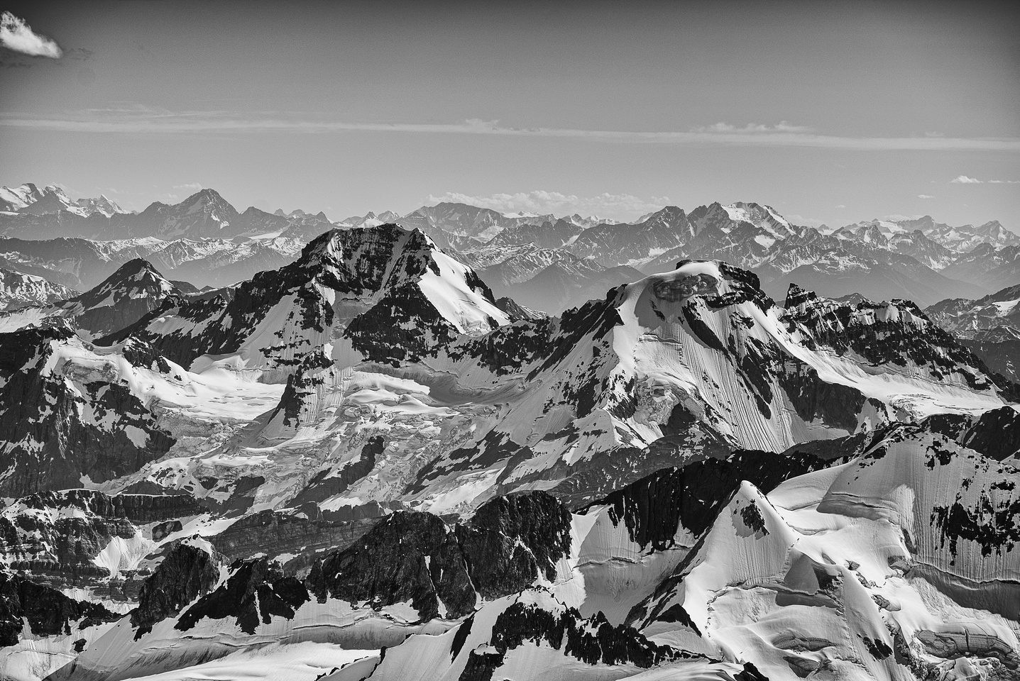 Rostrum Peak and Bush Mountain (triangular face in front of Bush) on the left of center and Icefall Peak on the right look a bit smaller now that we're above them.