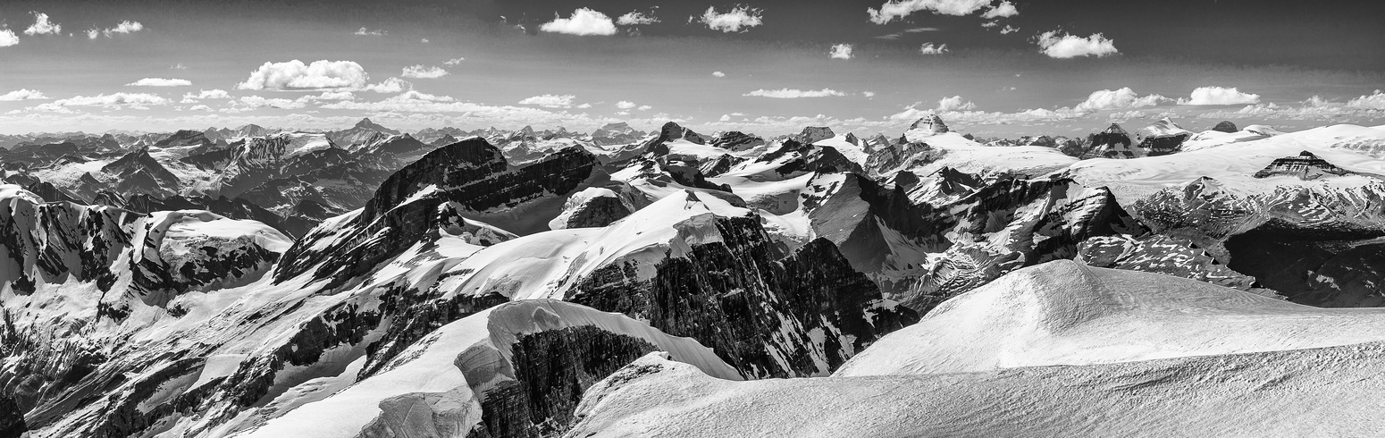 A B&W panorama looking north over Alexandra and Oppy towards the Columbia Icefield.