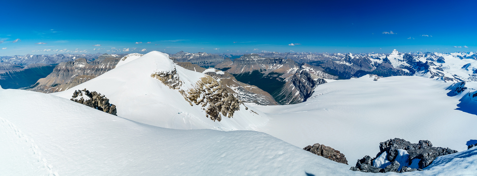 Looking southeast over Edward and Rudolph peaks and the main Lyell Icefield at right of center beneath.