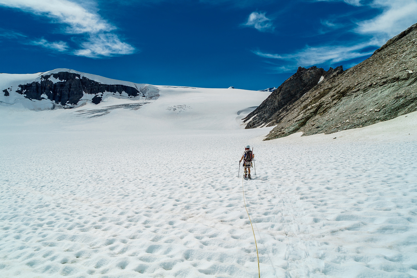 Starting the long snowshoe trek, back up the Lyell Glacier. We're not messing around with the rope either - snow bridges are weakening in the hot sun.