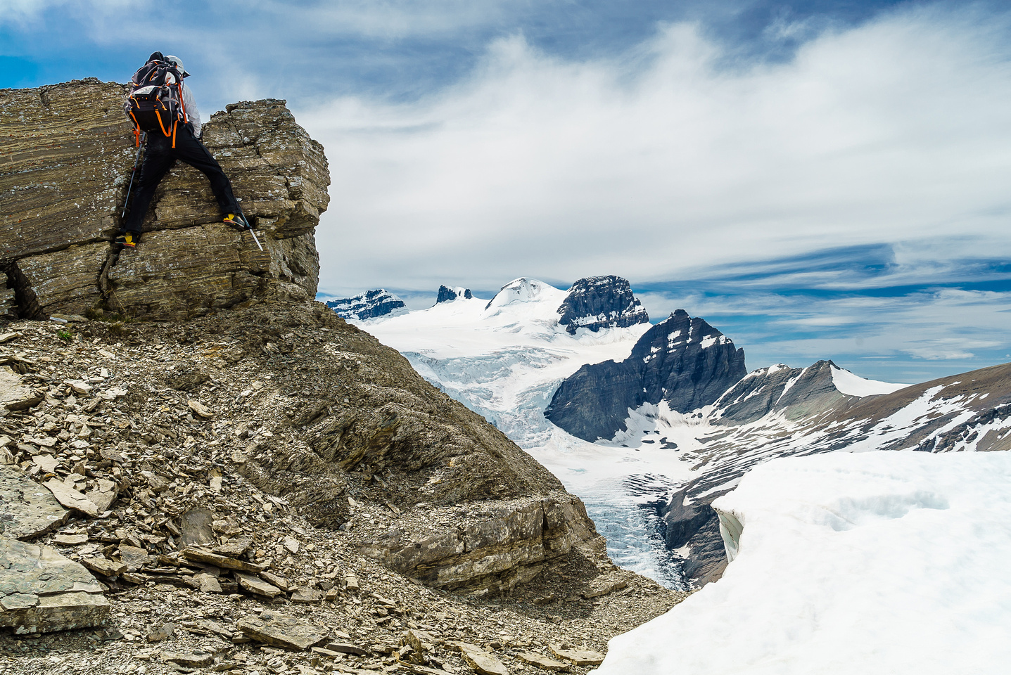 """Steven tackles """"the crux"""" on Arctomys' west ridge - a moderate low cliff band."""
