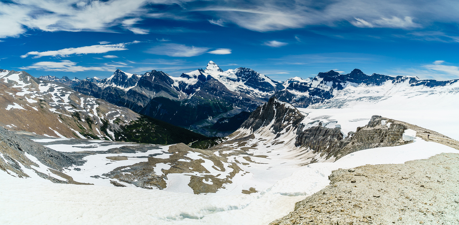 Working our way up the rubbly west ridge of Arctomys, looking back at Ben and the Lyell Glacier with the lovely green Lyell Meadows and Mount Forbes at center.
