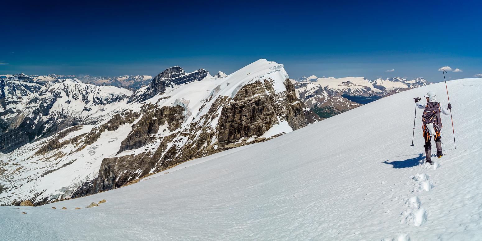 Probing the summit ridge cornice.