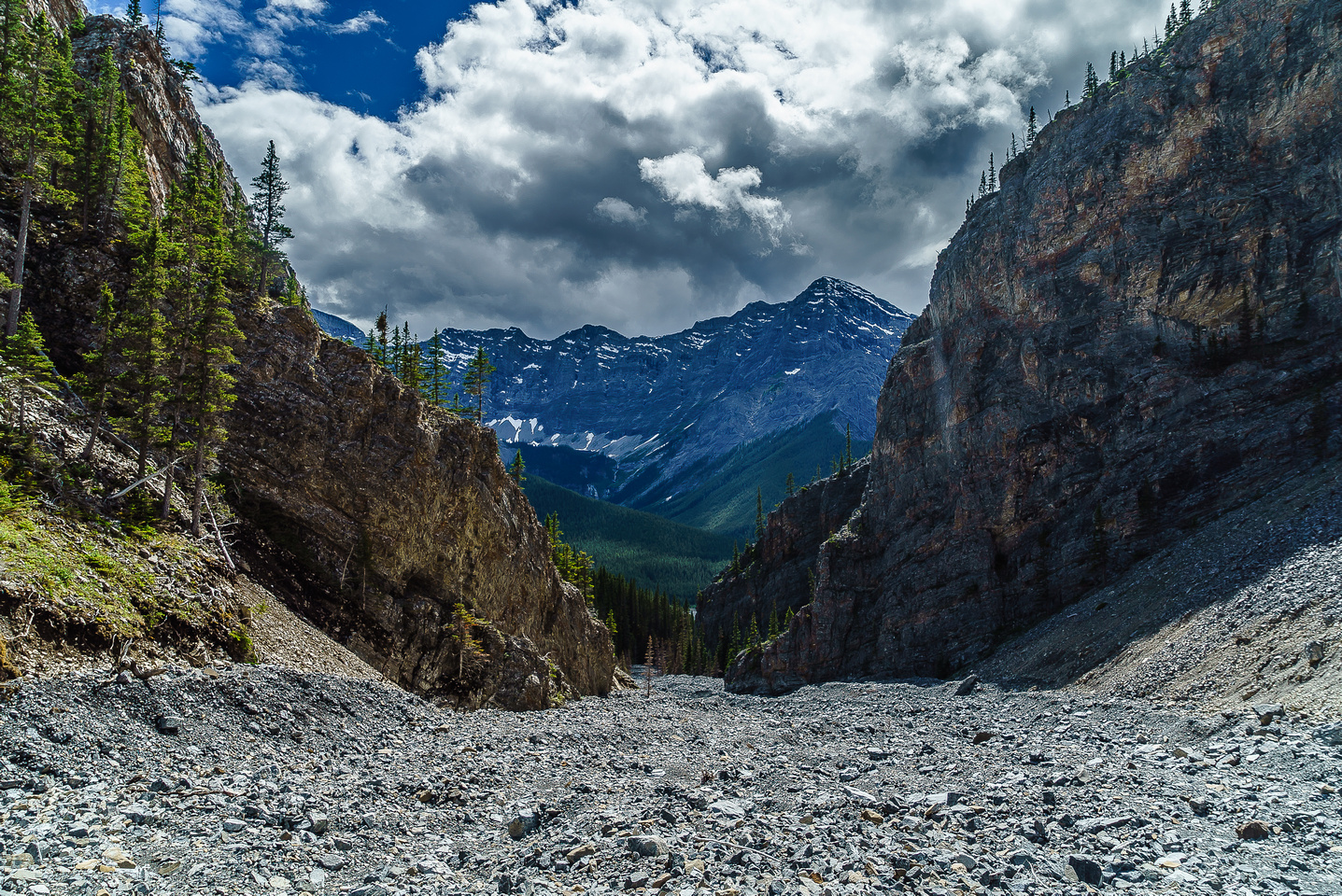A cleared out creekbed awaits us on descent back to the Spray Lakes.