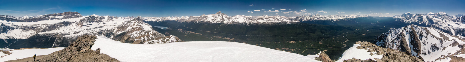 Raf comes up to the summit. From L to R Daly, Hector Lake, Hector, Skoki and Lake Louise peaks.