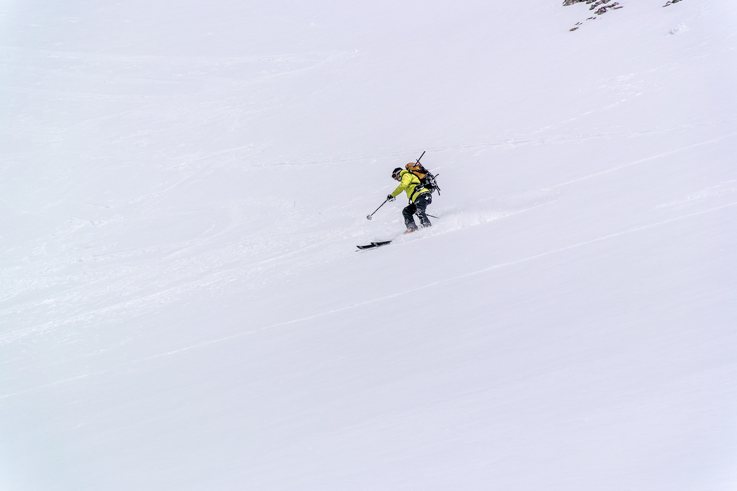 Excellent dust on crust skiing!