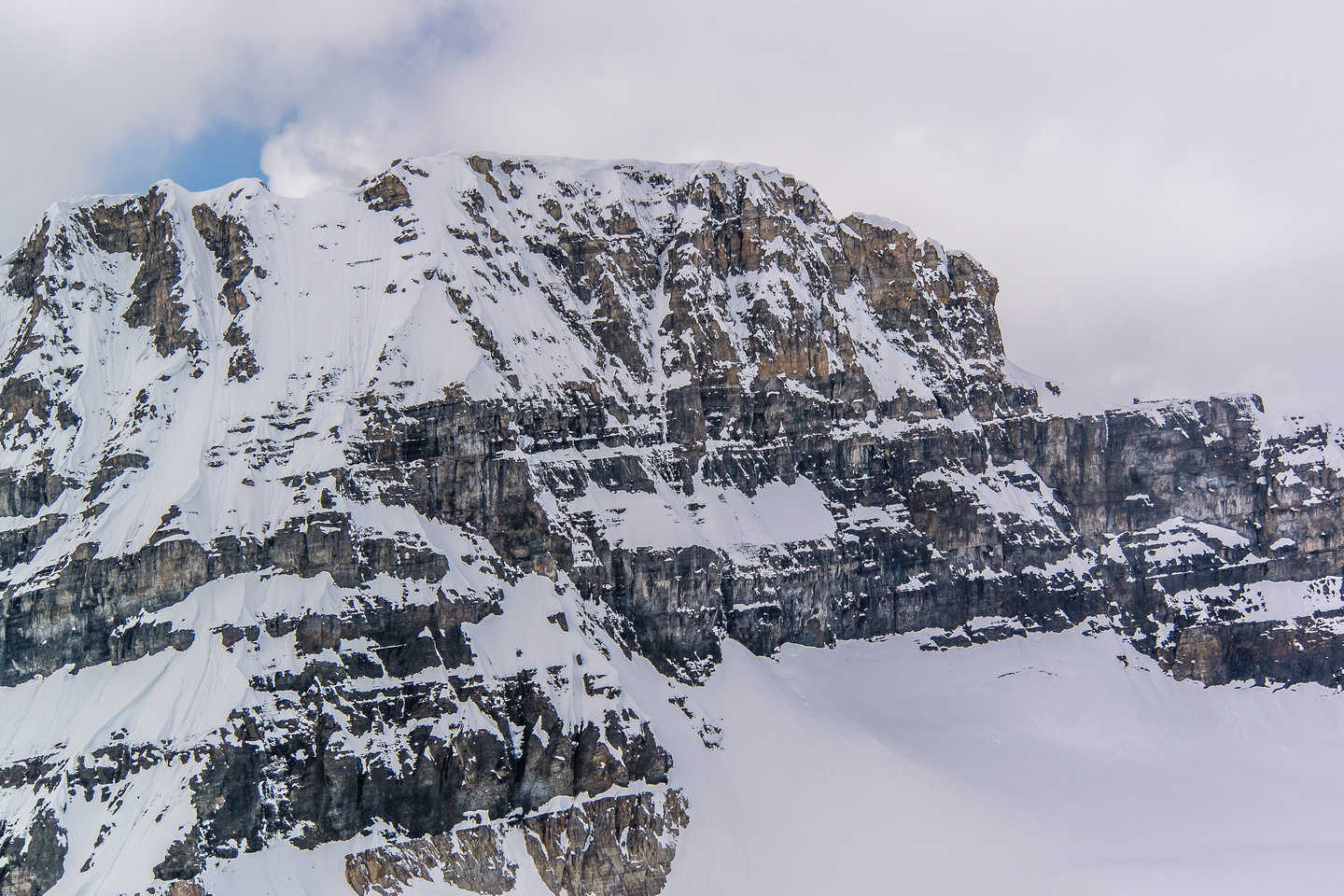 Chimney Peak looms over the col that is used for the Chick-a-Boom traverse that gets skiers between the Chickadee and Boom Lake valleys.