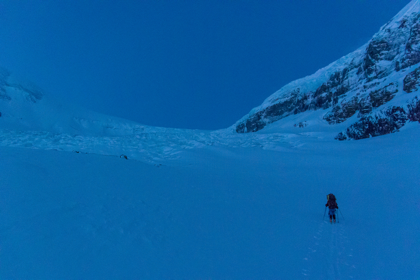 Approaching the lower icefall on the Athabasca Glacier approach to the Columbia Icefield in early morning light.