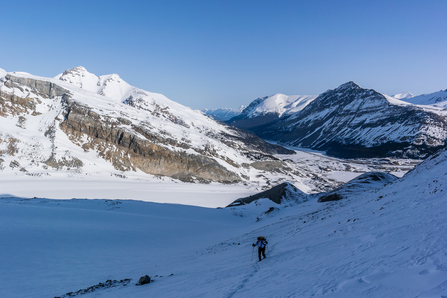 Looking back at Ferenc and our approach through the lower moraines.