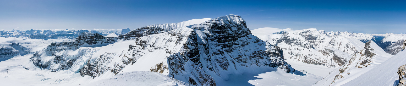Incredible views from the AA col area looking back at Andromeda and the Columbia Icefield.