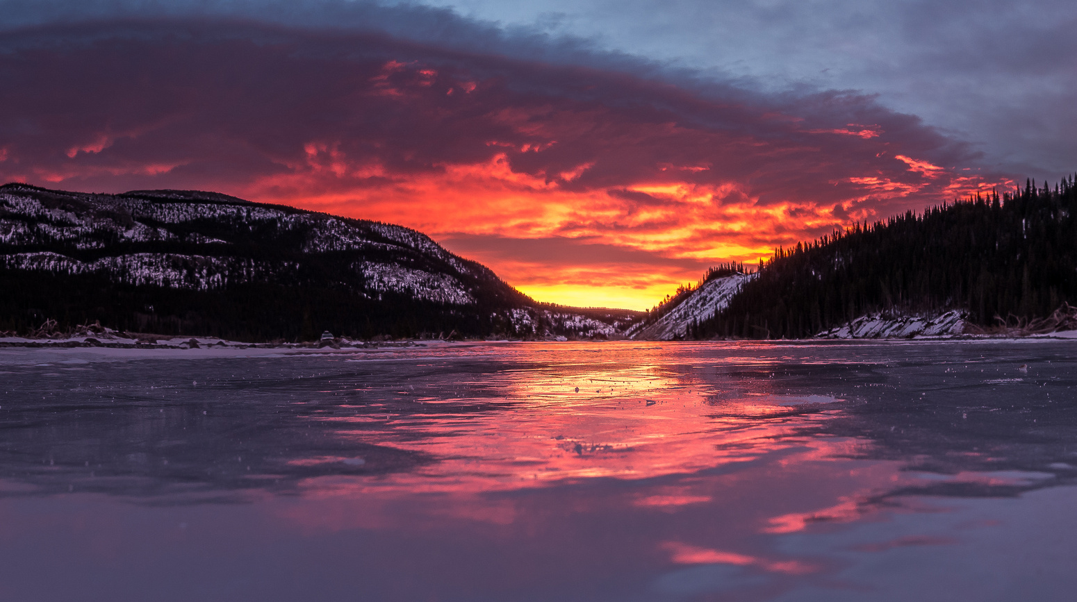 Gorgeous sunrise, looking back from our parking spot along the frozen riverbed.