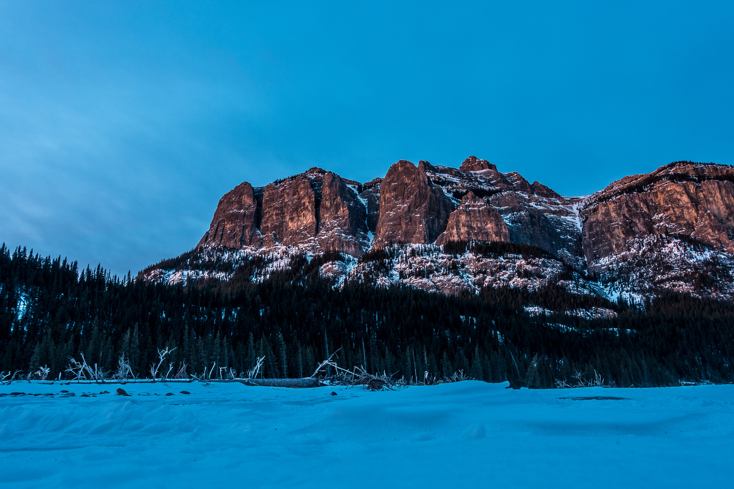 Phantom Crag looms above our parking spot along the Ghost River.
