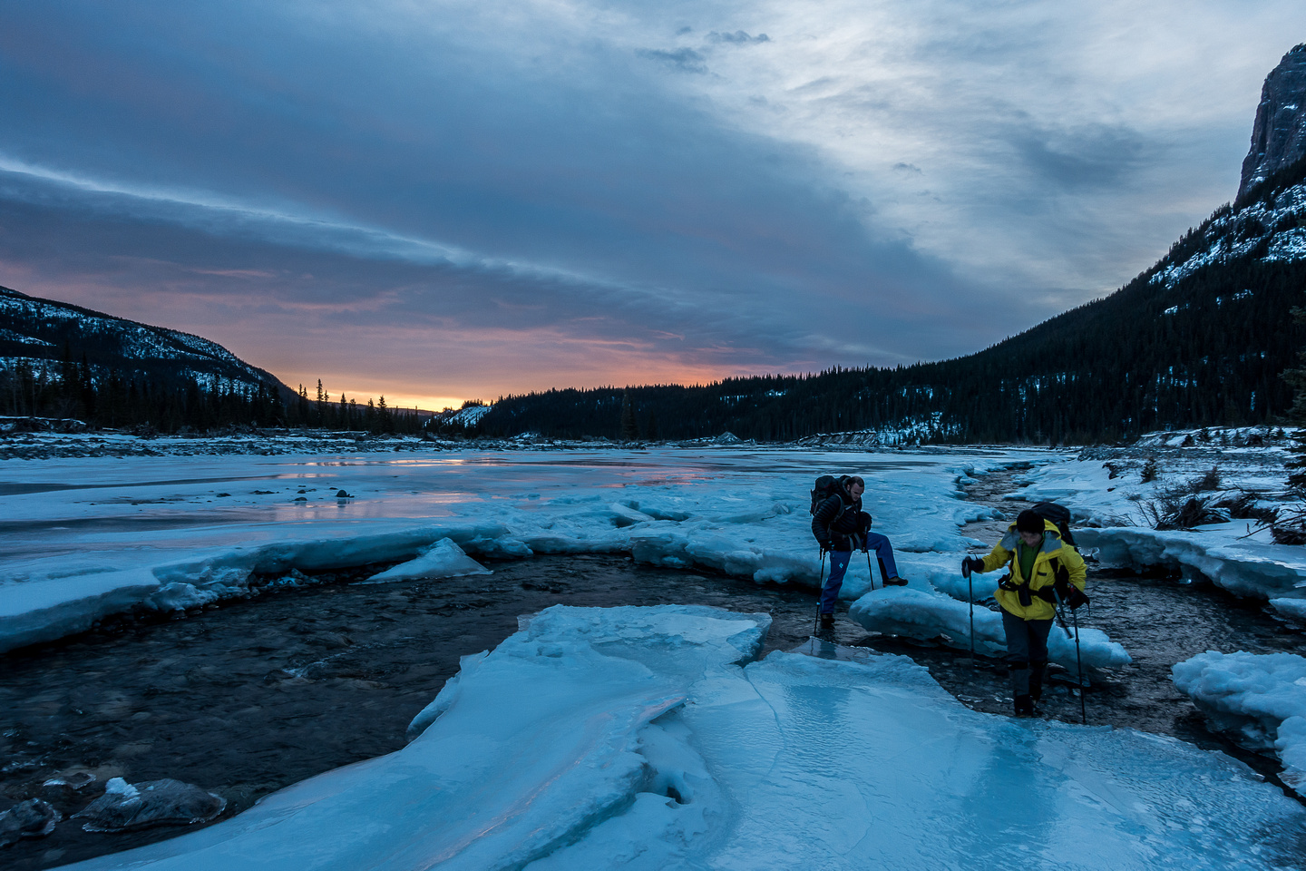 Crossing the partially frozen Ghost River.