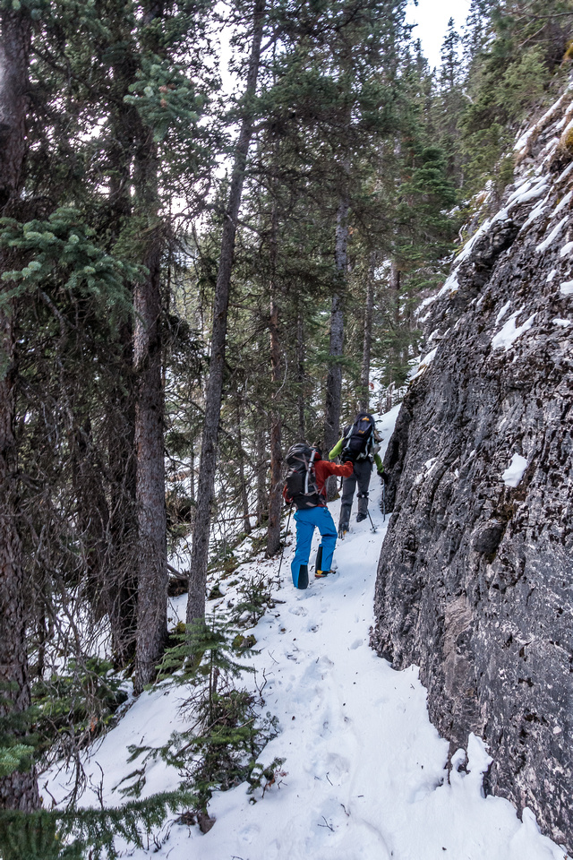 An excellent trail runs up along the cliff to climber's right of the headwall.