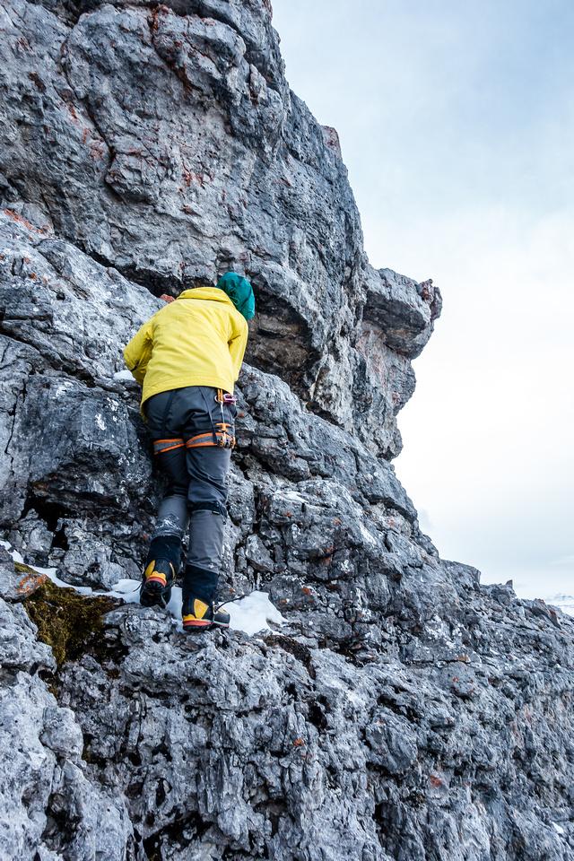 Steven starts up the summit block.
