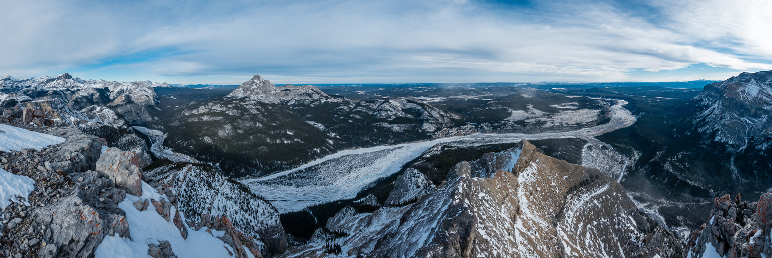 Excellent summit pano down the Ghost River. Blackrock on the left.