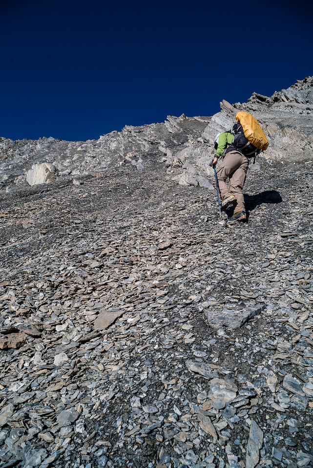 Not for the faint of heart with large alpine packs - you have to cross at least 3 of these high cols and a number of smaller ones.