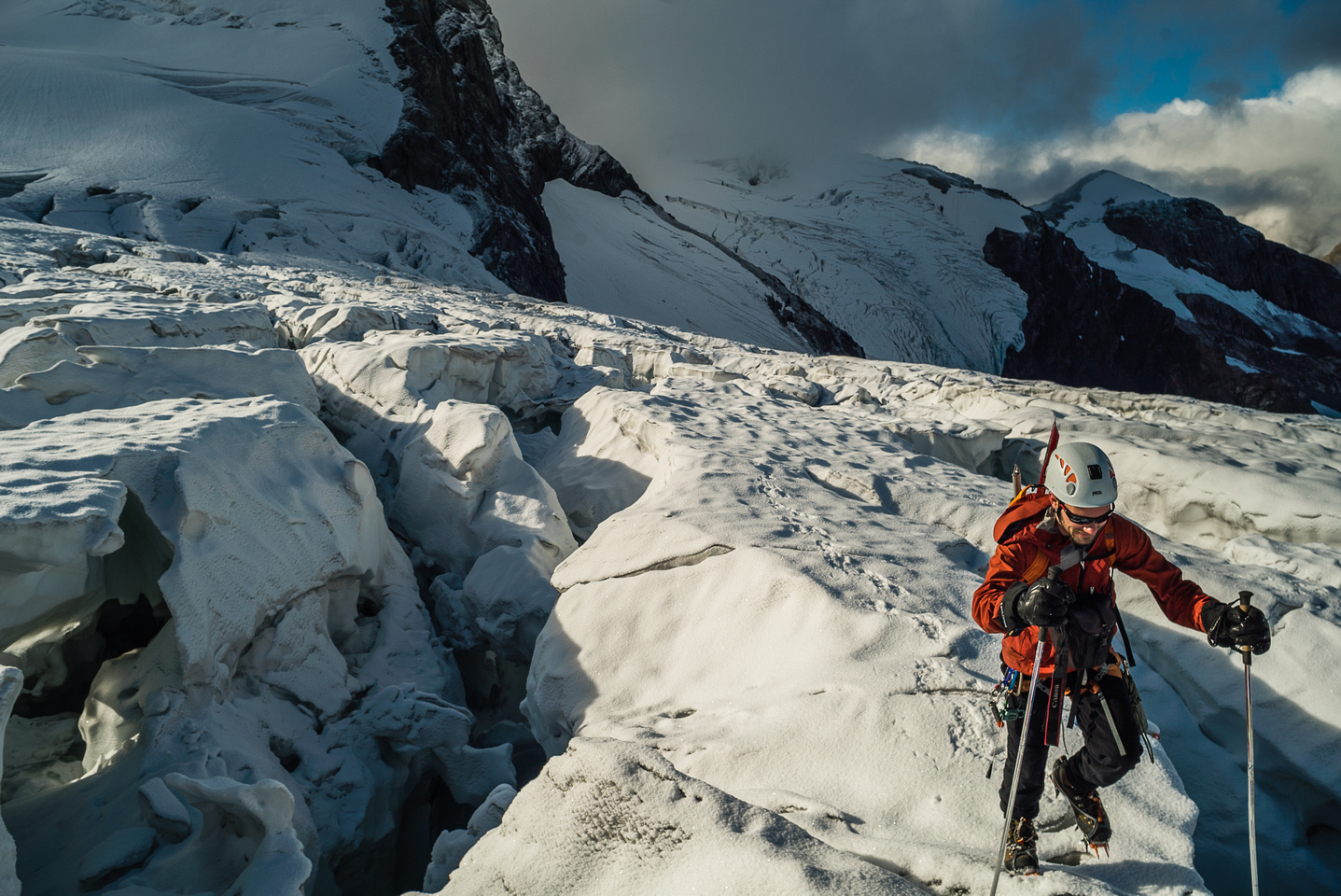 We stayed unroped on the section of glacier where the holes were obvious, but on return we kept the rope on here thanks to deteriorating snow conditions.