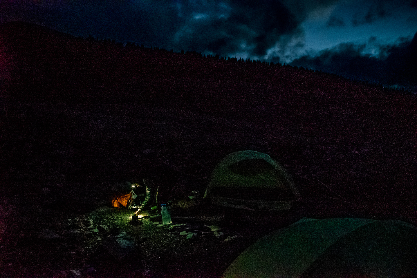 Four hours later we're finally at our bivy. None of us can believe we made it by dark.