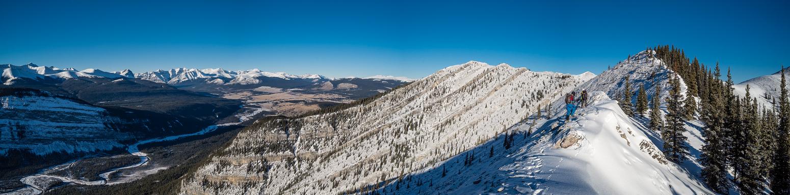 Great views towards Ya Ha Tinda Ranch off the ridge on Maze.