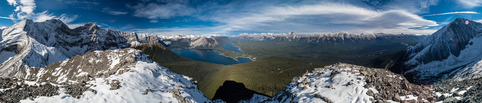 Foch and Sarrail at left, Kananaskis Lakes at center and the Mount Fox at distant right.