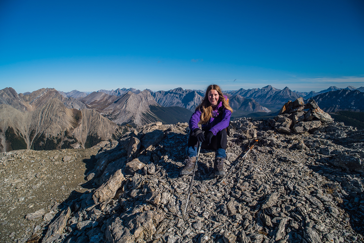 Kaycie enjoys her first summit of the day.
