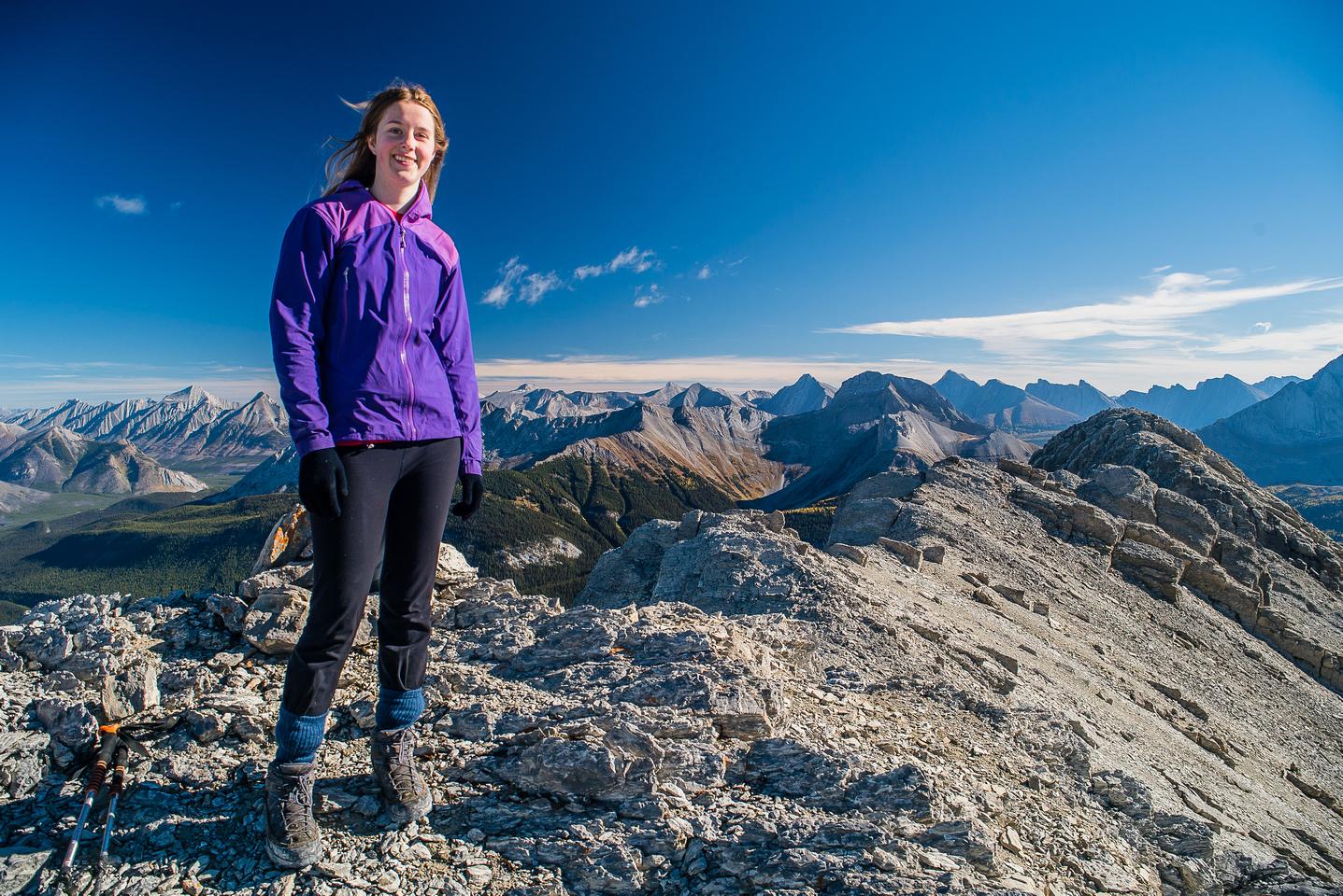 Kaycie on the summit of Mount Warre.