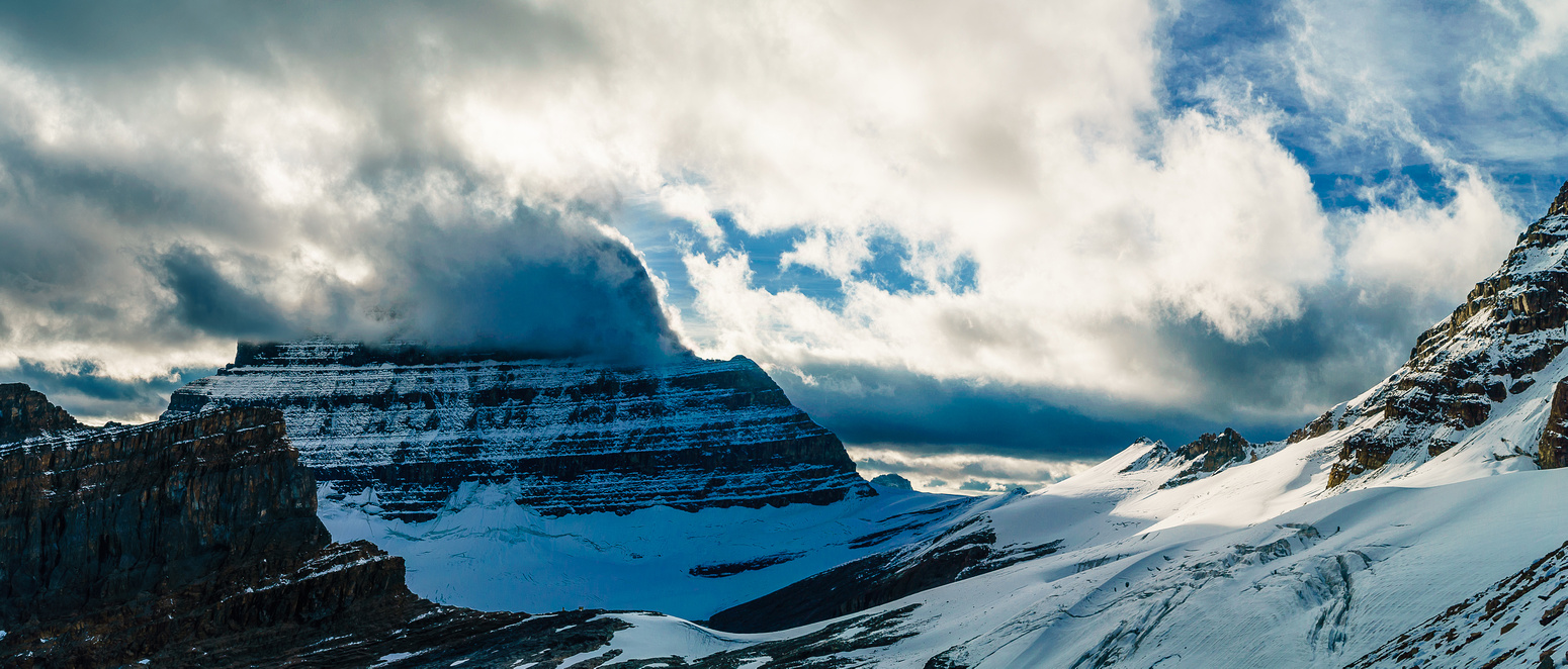 A glance back at the brooding Mount Alberta behind us.