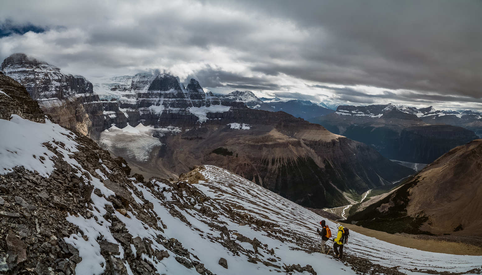 Descending the south ridge of Little Alberta with Twin's Tower in the background. Note the tarn at the base of the north face?