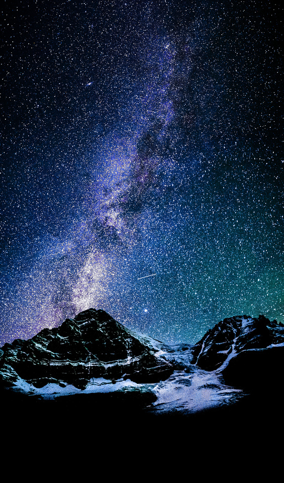 The Milky Way lights up the night sky over Mount Woolley and Diadem Peak near my bivy.