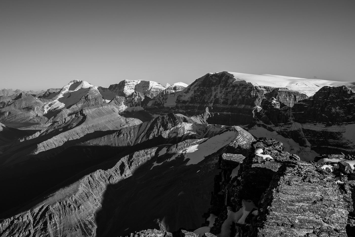 Looking towards the Columbia Icefields, L to R, Athabasca, Andromeda and Kitchener.