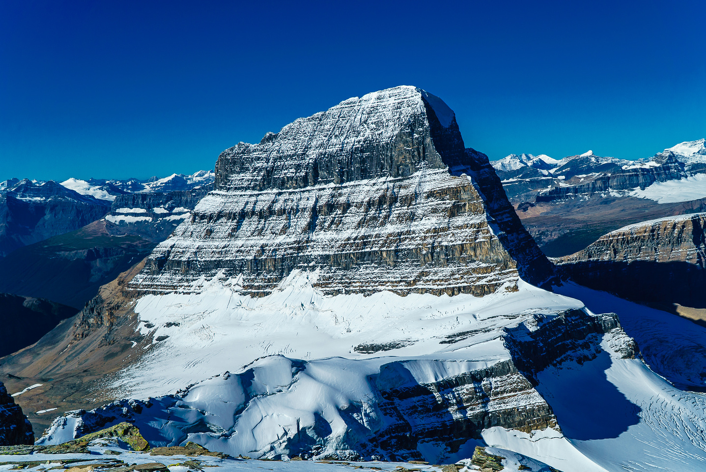 Mighty Mount Alberta rises to 11,875 feet high - there are three main routes to it's summit.