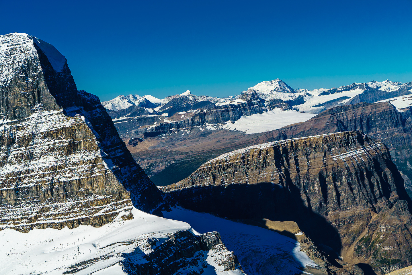 Impressive views past the NE ridge of Mount Alberta towards Mount Clemenceau.