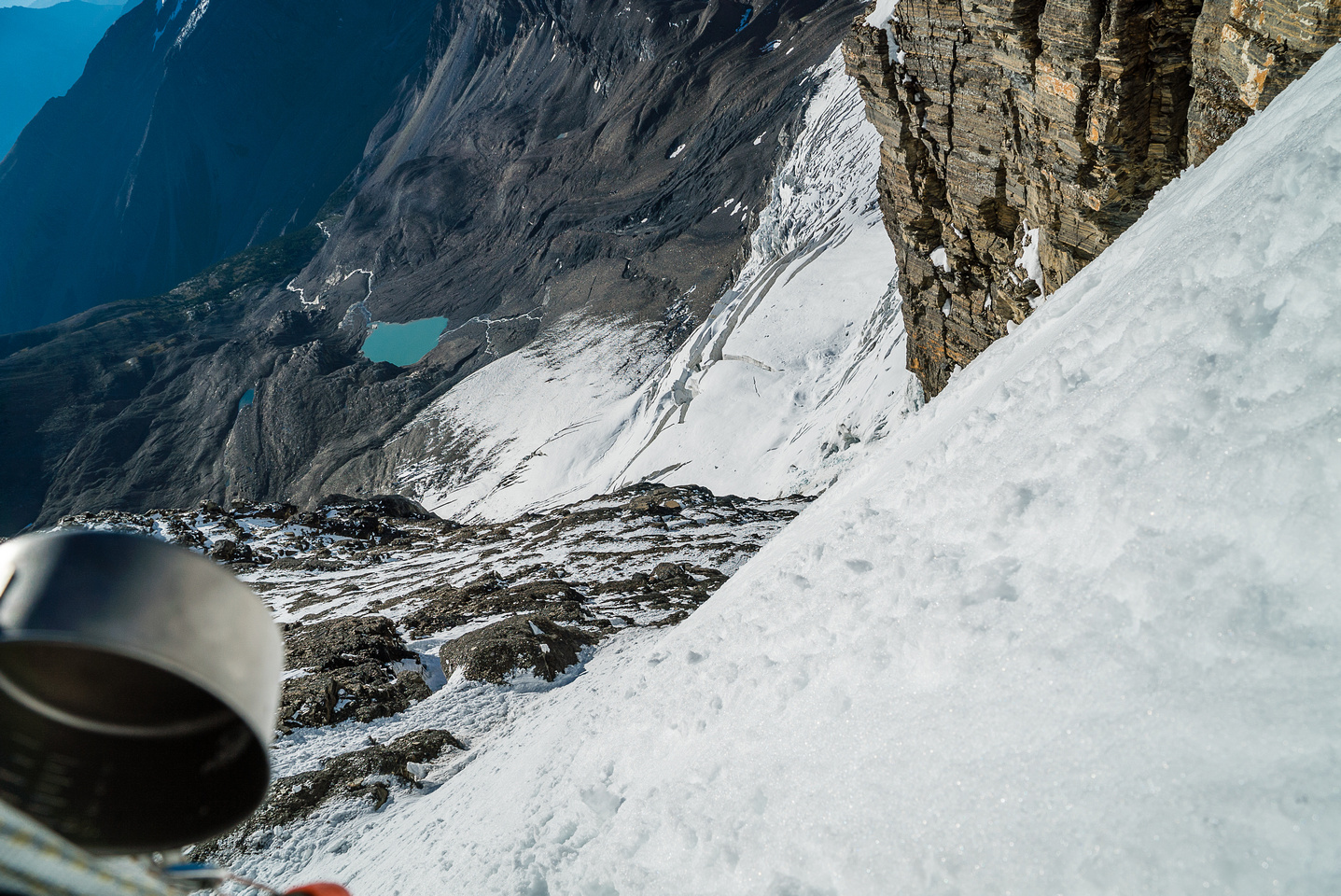 Looking down the 2nd couloir.