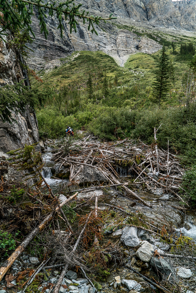 This is the easy part of the lower route in the creekbed.