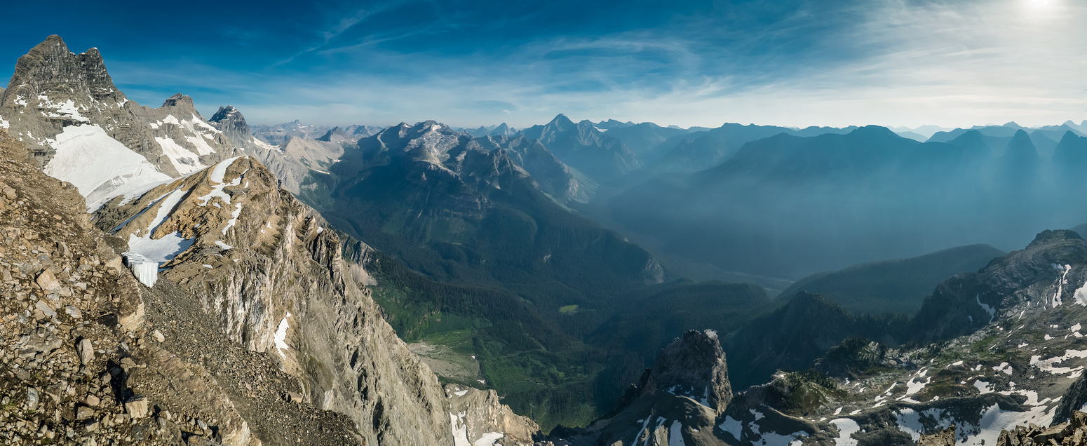 Impressive pano from the summit looking over Mount Craddock and the Palliser River Valley.