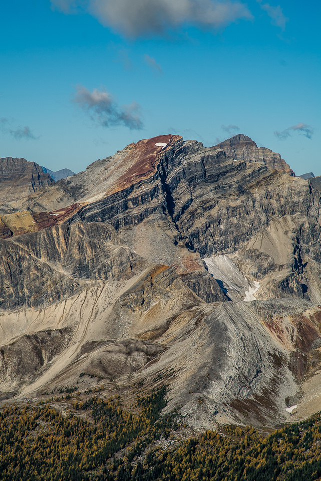 """Looking towards the White Man Pass area with the colorful and obviously named, """"Red Man Mountain"""" ;) Alcantara is the large peak looming behind."""