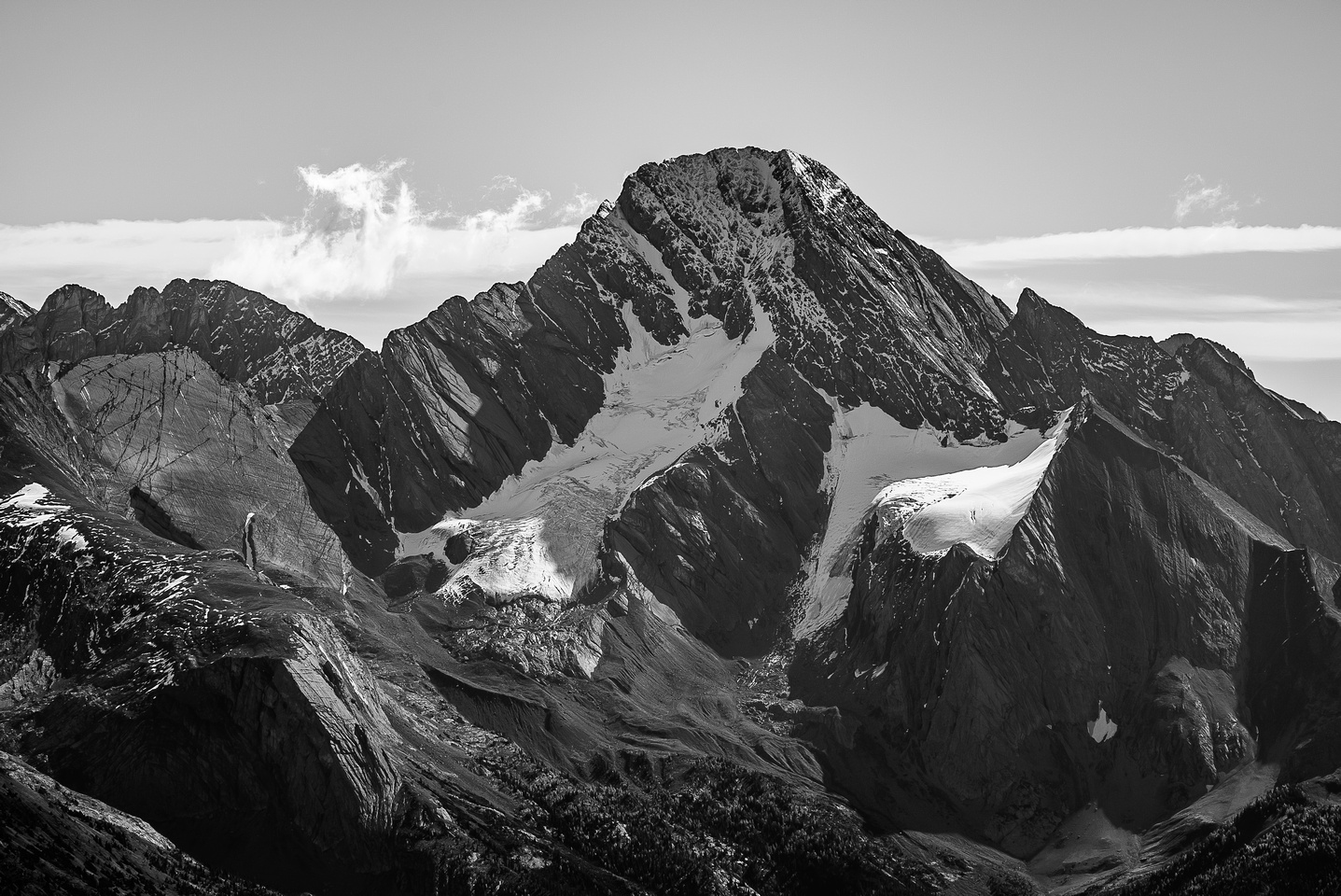Sir Douglas with it's two glaciers and both Northwest Face and West Ridge routes visible.