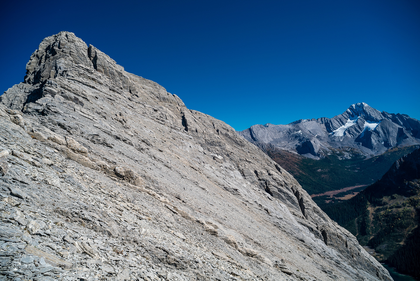 I thought I could possibly descend a hundred meters and go up one of the obvious cracks in the cliff bands guarding a route up the south slopes to the summit.