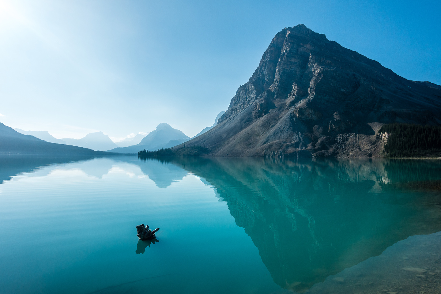 Bow Lake on a warm summer morning.