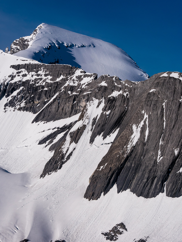 Another view of Mount Joffre looming over its north ridge with our tracks just visible.