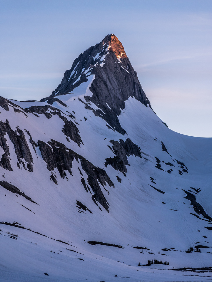 Mount Northover gets some alpine glow.