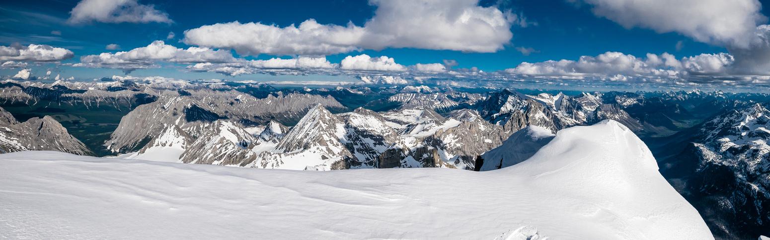 Peaks include (L to R), Aosta, Nivelle, Castelnau, Swiderski, Abruzzi, Marconi, Minton, Forsyth and Harrison at distant right.